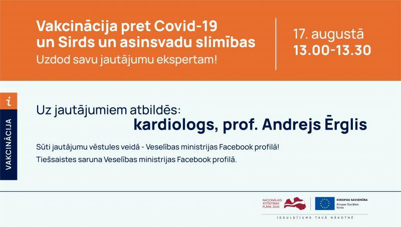 Tiešsaistes sarunu cikla turpinājumā atbildēs uz dažādu pacientu un iedzīvotāju grupu jautājumiem par vakcināciju pret Covid-19