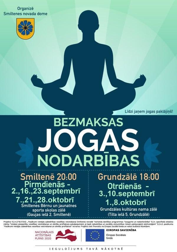 Aicinām Smiltenes novada iedzīvotājus piedalīties bezmaksas jogas nodarbībās