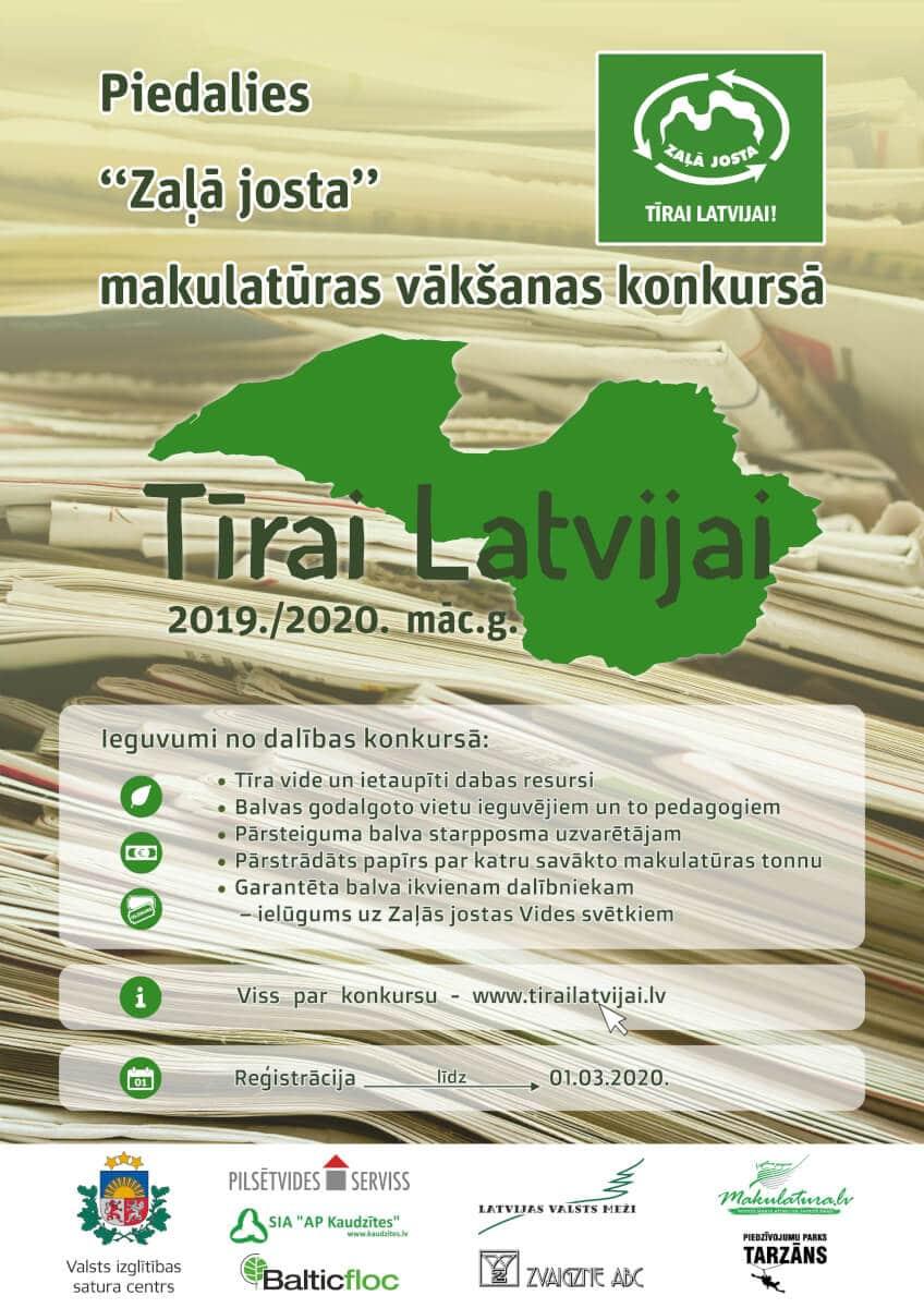 """Kampaņā """"Tīrai Latvijai"""" skolēnus iesaistīs makulatūras vākšanā, saudzējot dabas resursus un veicinot atkritumu šķirošanu"""