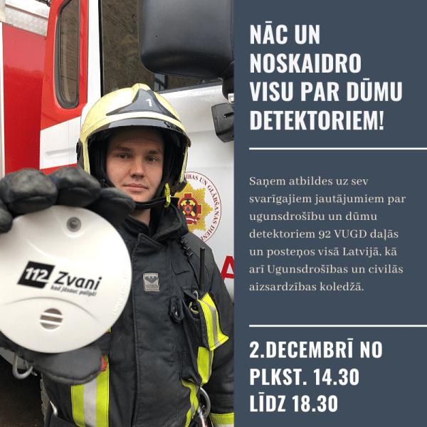 VUGD 2.decembrī organizē konsultāciju dienu par dūmu detektoriem