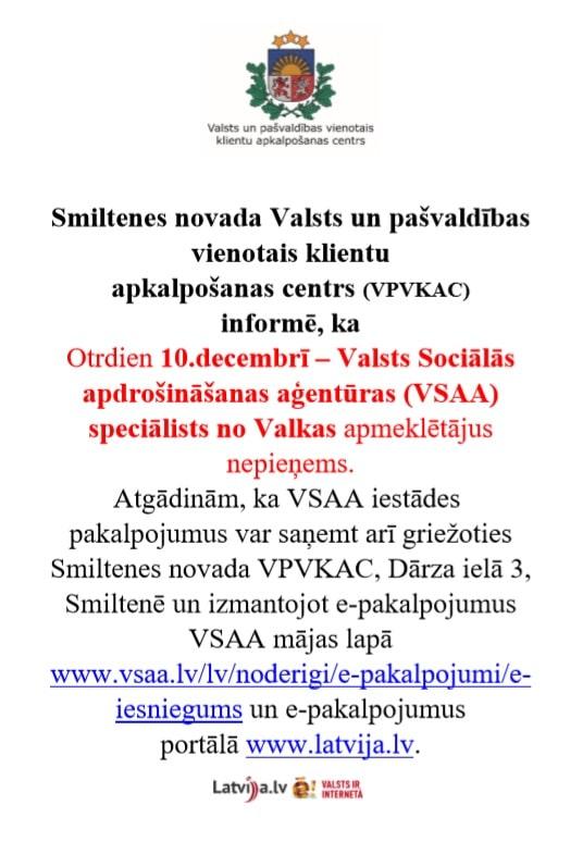 10.decembrī VSAA speciālista pakalpojumi nebūs pieejami