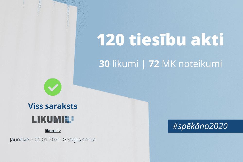 1. janvārī stājas spēkā 30 likumi un 72 Ministru kabineta noteikumi