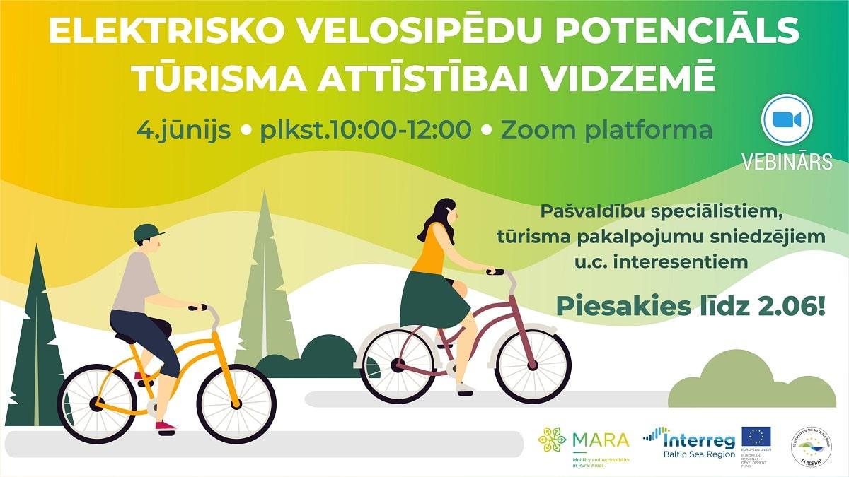 COVID-19, tūrisms un elektriskie velosipēdi Vidzemē: bezmaksas tiešsaistes seminārs (PROGRAMMA)