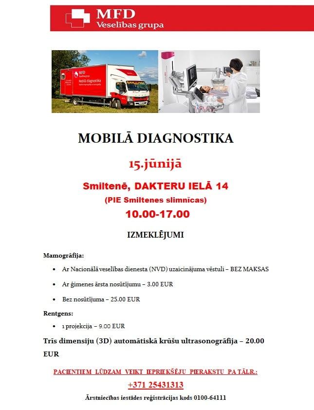 15.jūnijā MOBILĀ DIAGNOSTIKA