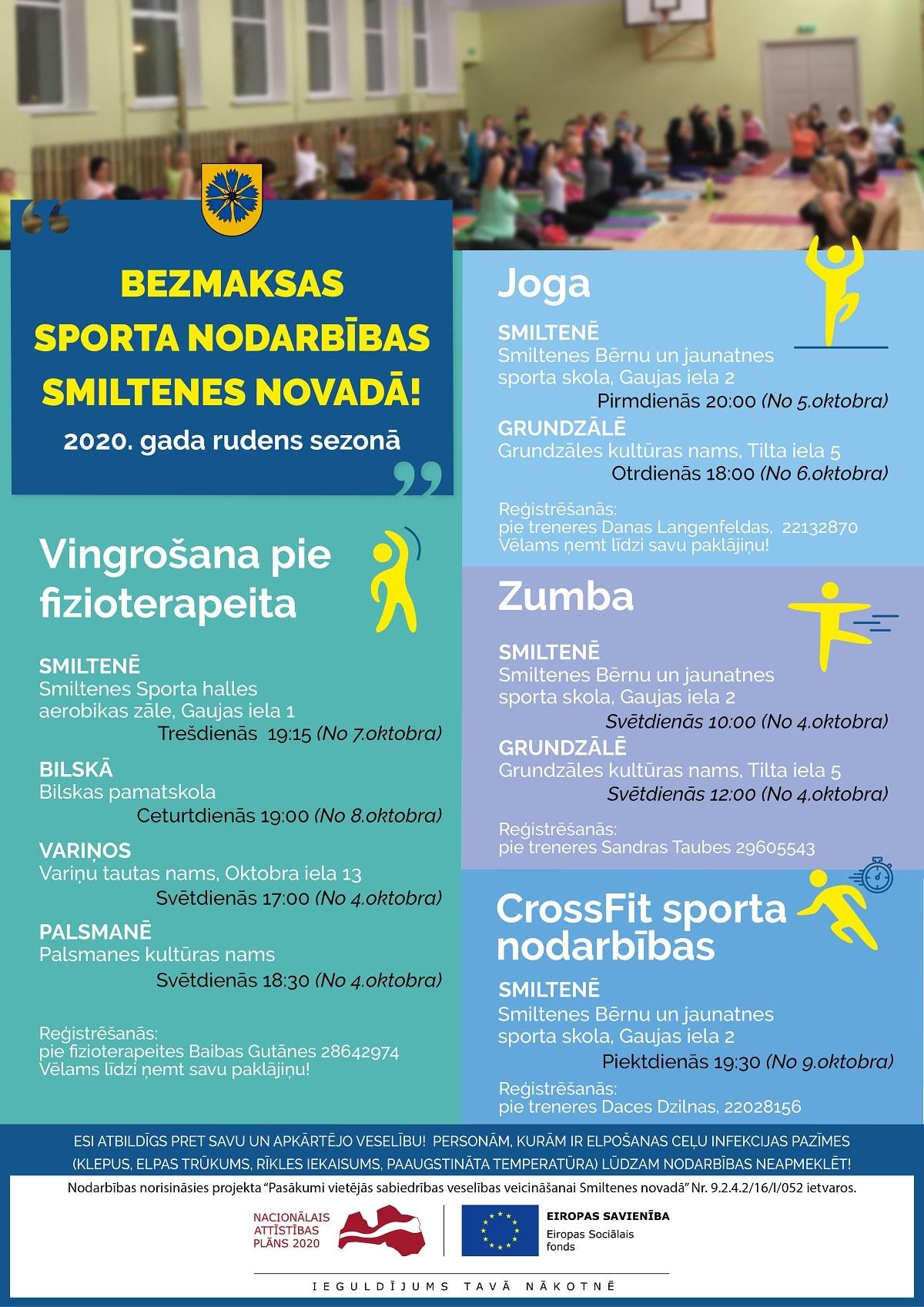 Oktobrī uzsāksies bezmaksas sporta nodarbības Smiltenes novadā