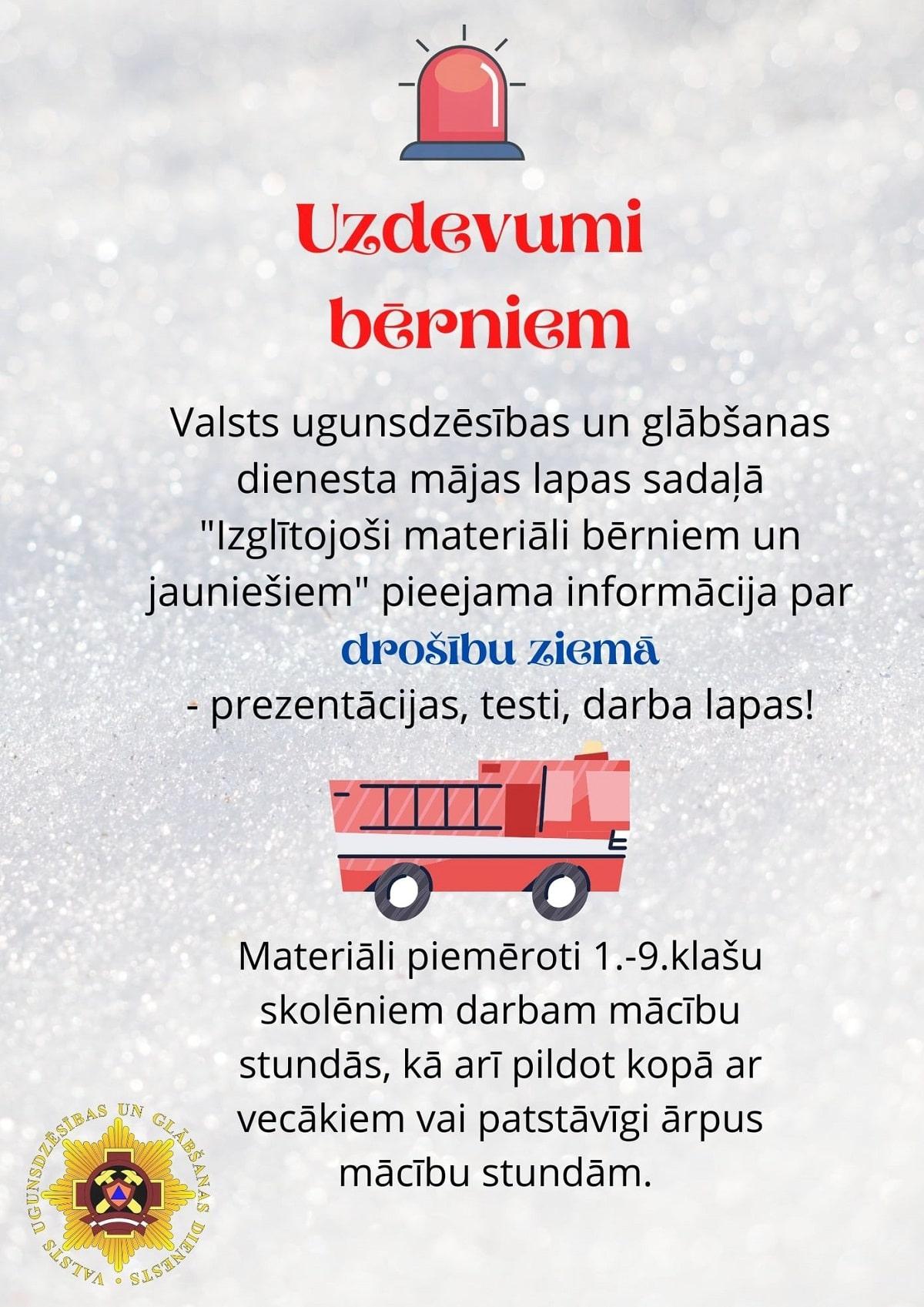 Sagatavoti izglītojoši materiāli bērniem un jauniešiem par drošību ziemā