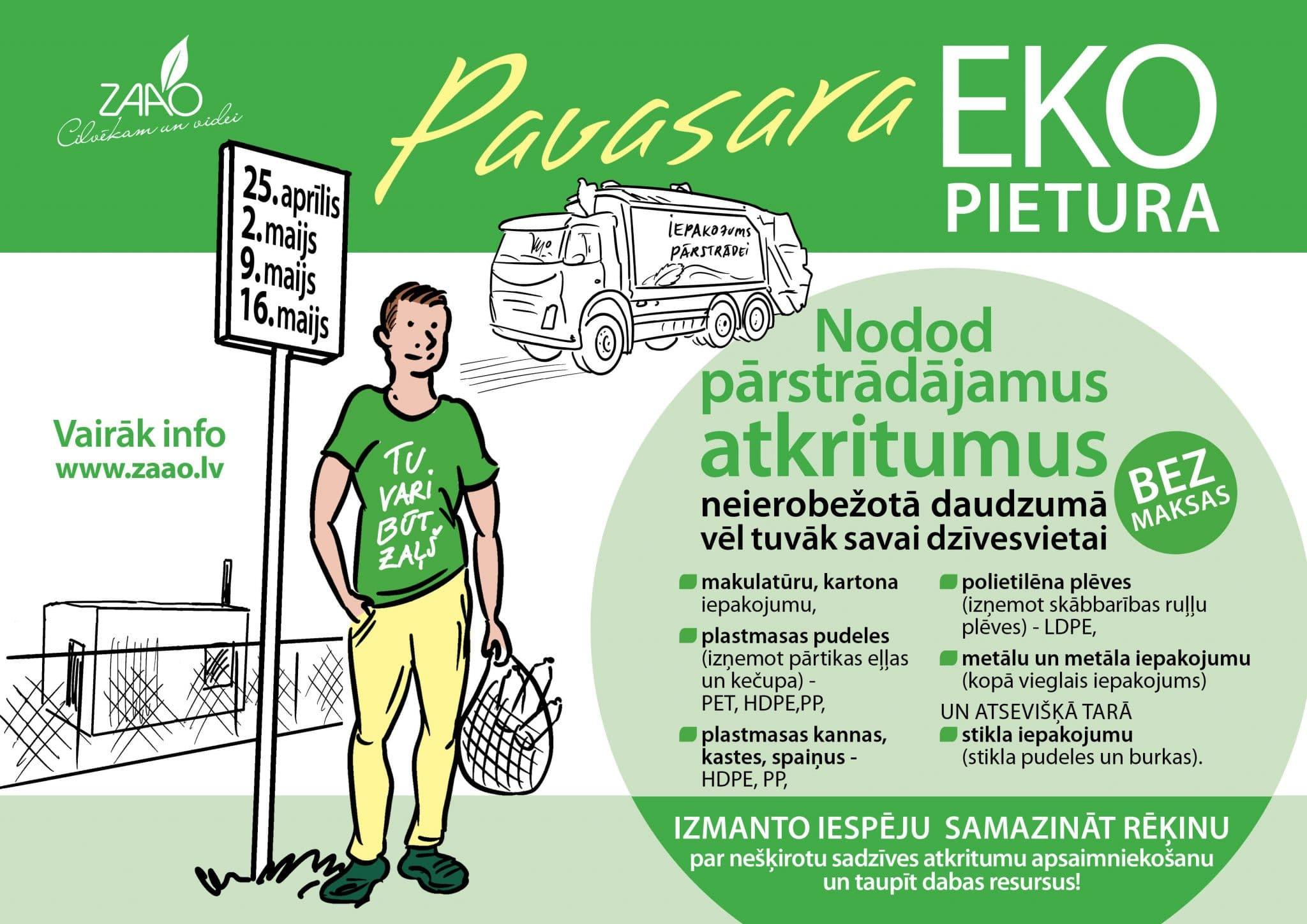 """Pārstrādājamo atkritumu vākšanas akcija """"Pavasara EKO pietura"""" pie Tavām mājām"""