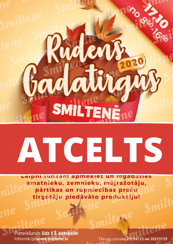 Rudens gada tirgus Smiltenē 17.oktobrī ir ATCELTS