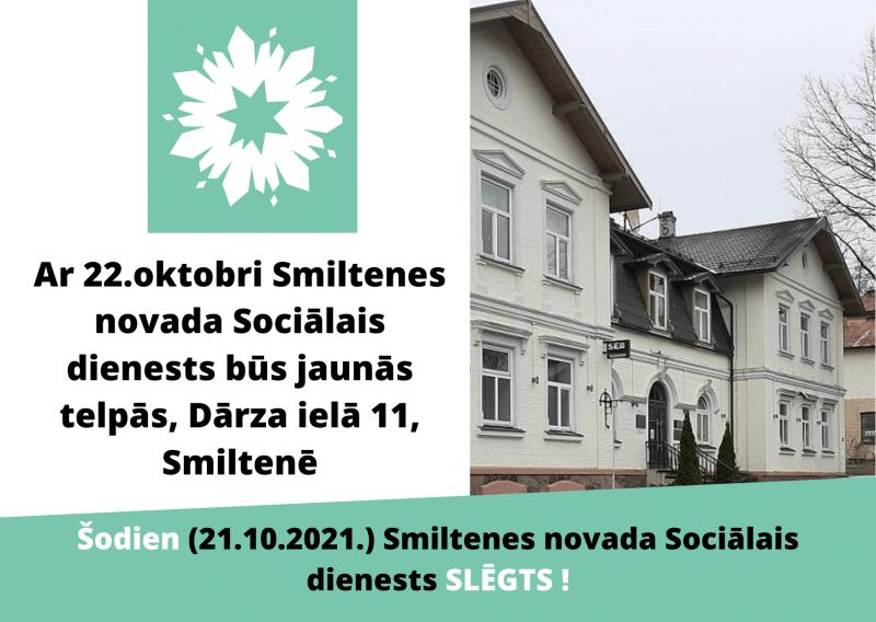 Ar 22.oktobri Smiltenes novada Sociālais dienests - jaunās telpās