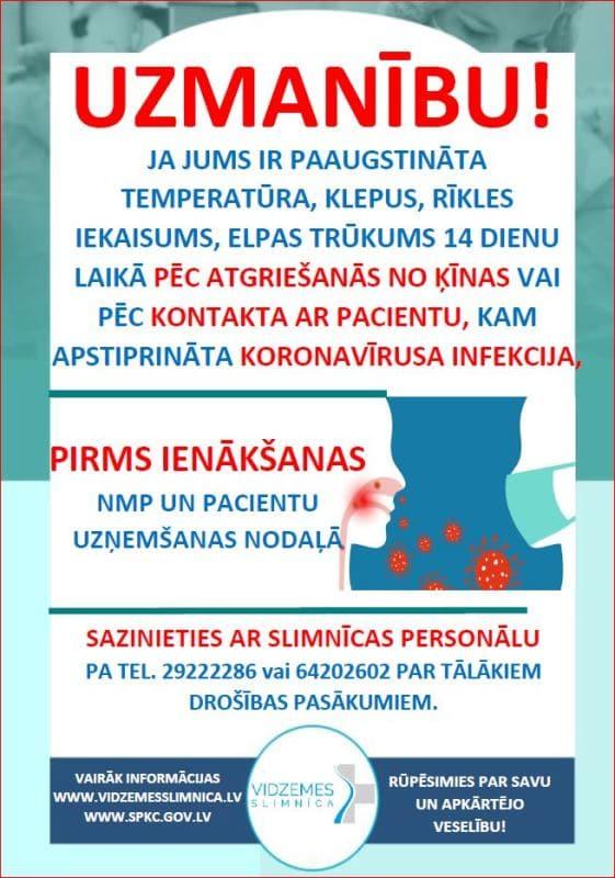Informācija pacientiem koronavīrusa infekcijas sakarā