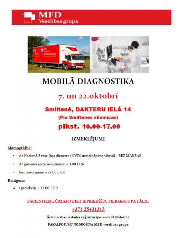 Mobilā diagnostika 7. un 22.oktobrī