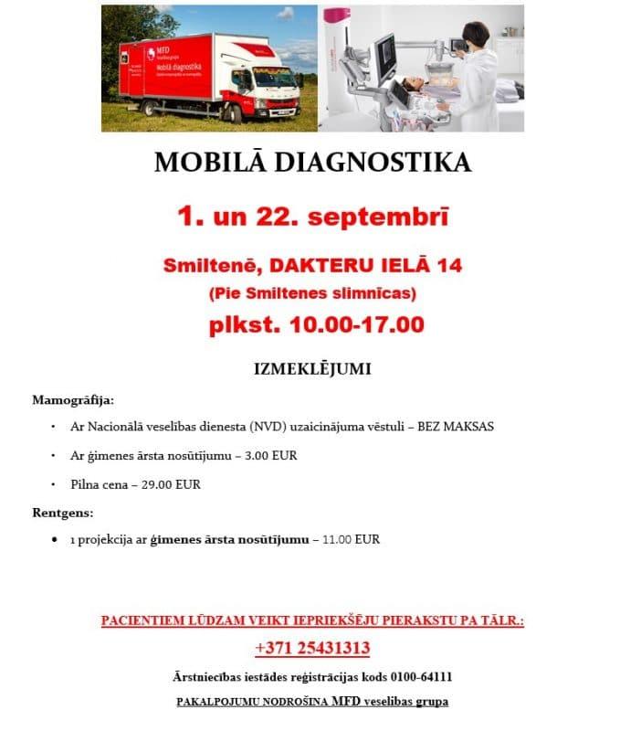 Mobilā diagnostika 1. un 22. septembrī