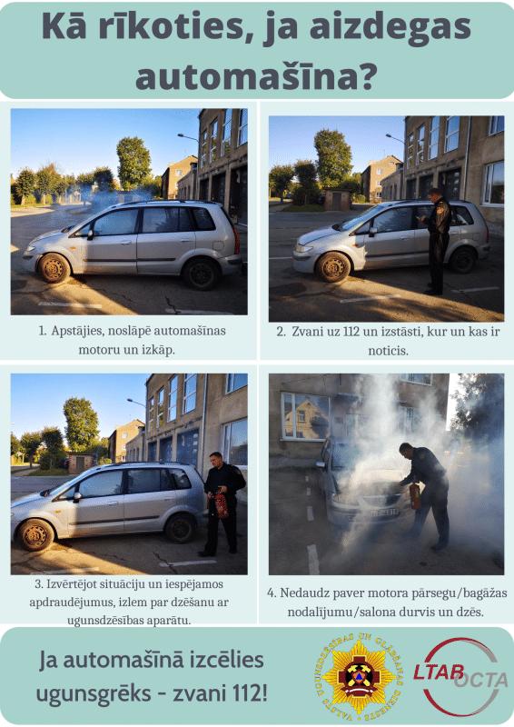 Katru gadu Vidzemē vairāk nekā 70 transportlīdzekļos izceļas ugunsgrēks