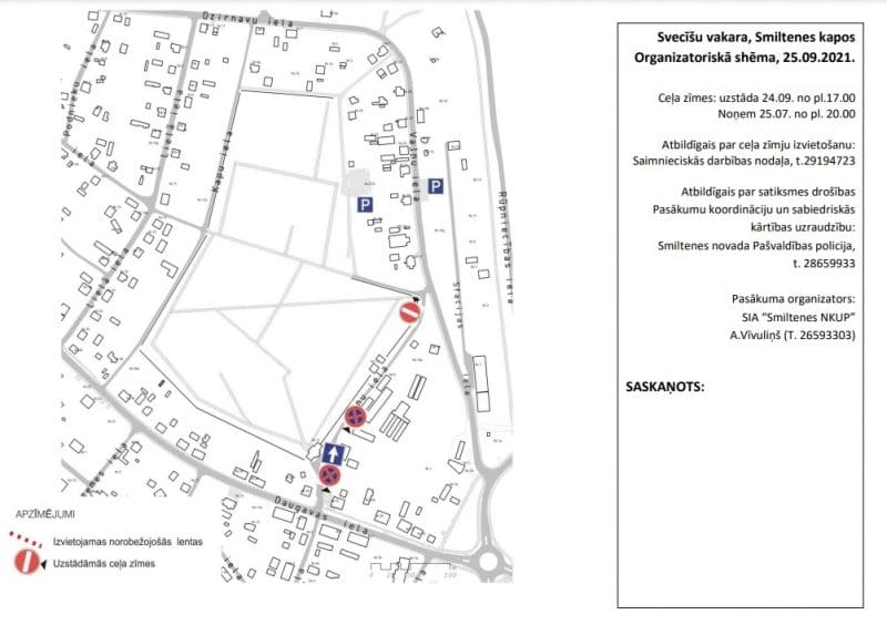 Satiksmes ierobežojumu shēma Svecīšu vakara norises laikā Smiltenes pilsētas kapos