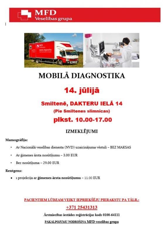 14.jūlijā MOBILĀ DIAGNOSTIKA