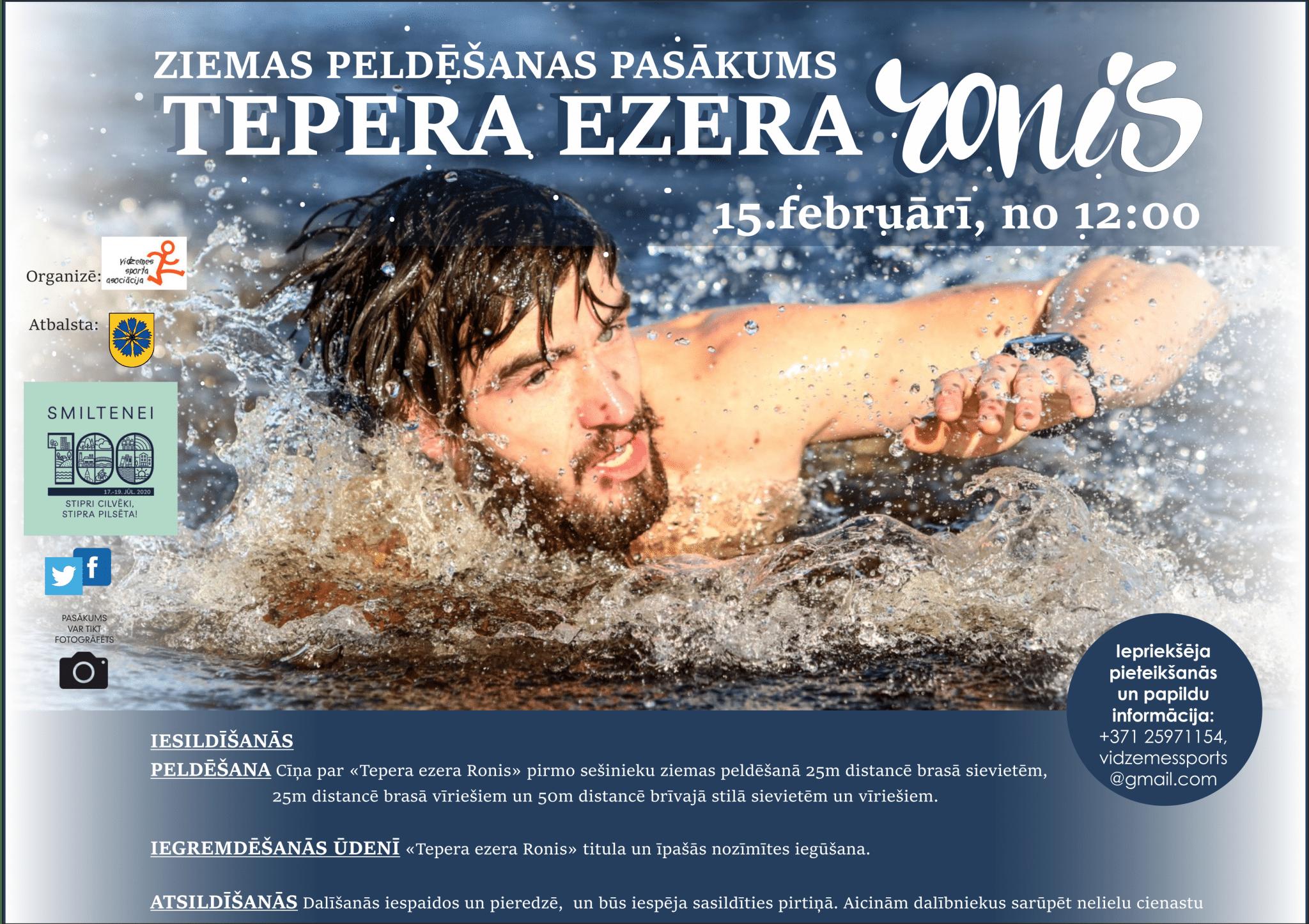 """Smiltenē norisināsies 1. ziemas peldēšanas pasākums """"Tepera ezera Ronis 2020"""""""