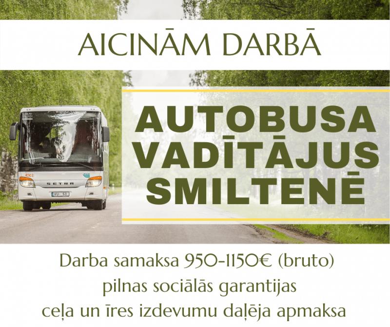"""SIA """"VTU Valmiera"""" aicina darbā AUTOBUSA VADĪTĀJUS Smiltenes autoostā"""